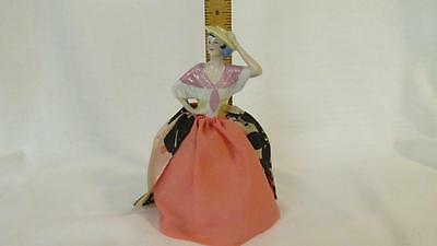 German Porcelain Half Doll Pin Cushion Pink Shawl & Hat Figurine Hand Sewn Skirt