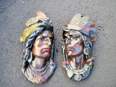 Pair of Antique EDWARDIAN CIGAR STORE Wall PLASTER Plaque INDIAN CHIEF STATUE