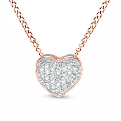 1/10 Ct Round Cut Natural Diamond Heart Necklace Sterling Silver