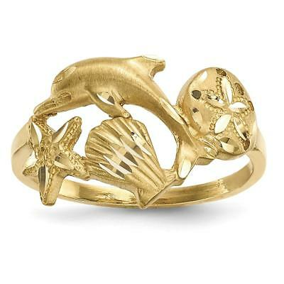 14k Yellow Gold Polished and Satin D/C Sea Life Ring Size 7 R597