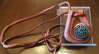 One Leather Medicine Bag with Celtic Symbol Tac-Pin on Flap