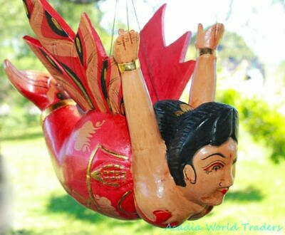 Flying Chubby Mermaid Mobile Goddess Spiritchaser hand carved wood Bali Art Red