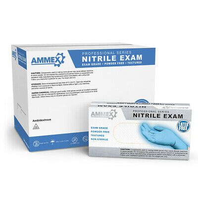 AMMEX Blue Medical Nitrile Exam Latex Free Disposable Gloves (Box of 100)