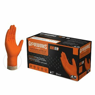 GLOVEWORKS Orange Nitrile Industrial Latex Free Disposable Gloves (Box of 100)