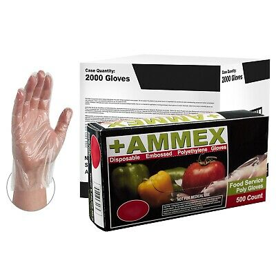 AMMEX Food Service Clear Poly Disposable Gloves (Box of 500)