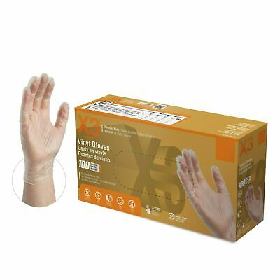 2000/Cs AMMEX Disposable Vinyl Gloves Powder Free Strong Non Latex Non Nitrile