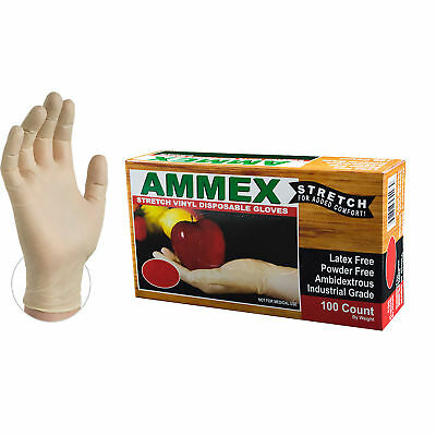 AMMEX Stretch Synthetic Ivory Vinyl Latex Free Disposable Gloves (Box of 100)
