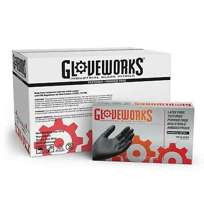 1000 GLOVEWORKS Black Nitrile Industrial Latex Free Mechanic Disposable Gloves