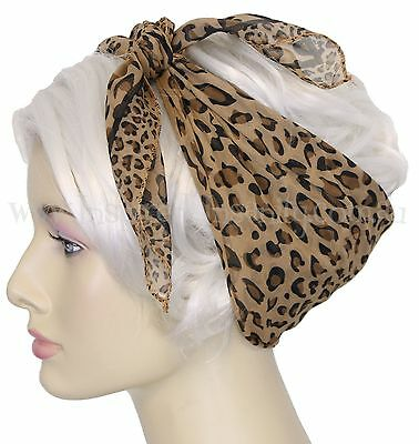 Pinup 50s LEOPARD PRINT Chiffon Square Head Scarf ~ RockAbiLLy PsyChoBiLLy ReTro