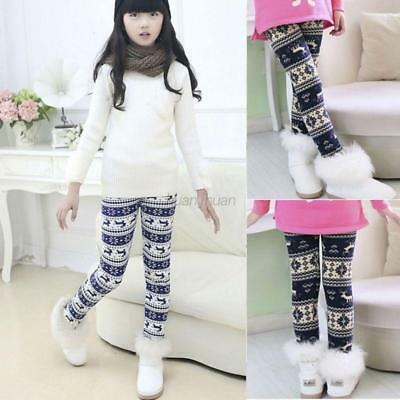 US 1-9Y Baby Kids Girl Winter Warm Fleece Leggings Thick Lined Pants Trousers