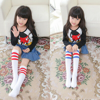 US Stock Kids Baby Boys Girls Knee High Socks Breathable Striped Tube Long Socks