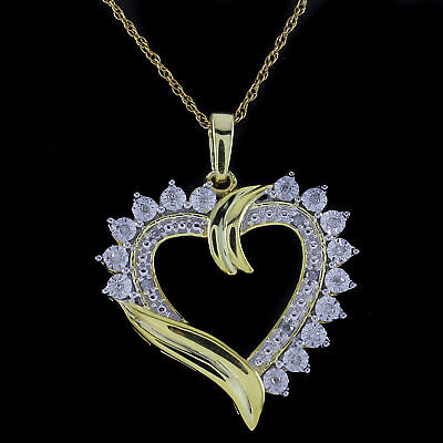 """1/10 Ct Natural Diamond Heart Pendant W/18"""" Necklace Sterling Silver"""