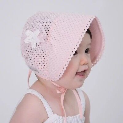 Pink Baby Toddlers Girl Eyelet Lace Breathable Cotton Bonnet Sun Hat +Free Socks