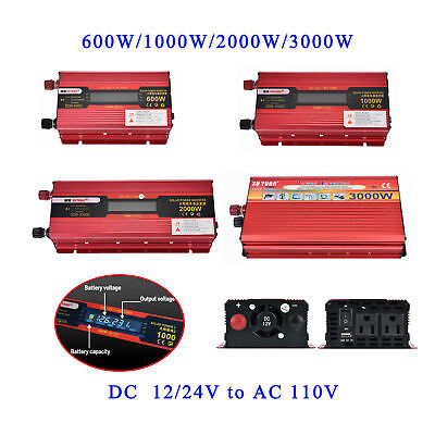 2000W/3000W Car LED Power Inverter Converter DC 12V To AC 110V/220V USB Charger