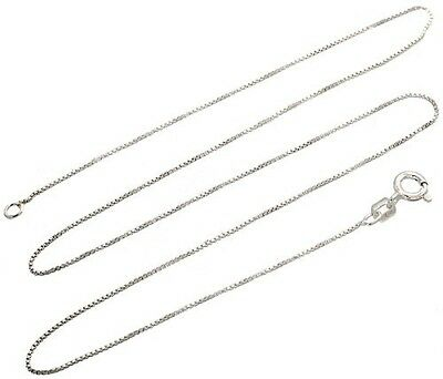 Sterling Silver Box Chain 1mm Genuine Solid 925 Italy Classic New Necklace