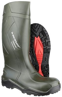Dunlop Purofort+ Full Safety Unisex Green Pull On Wellington Boots UK3-14