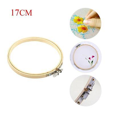 Wooden Cross Stitch Machine Embroidery Hoops Ring Bamboo Sewing Tools 17CM W#
