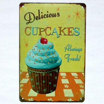 DELICIOUS CUPCAKES METAL Sign Kitchen Vintage Diner Bakery Wall ...