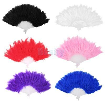 Ladies Burlesque Feather Hand Fan Fancy Dress Costume Prop Dancer favor 5 Colors