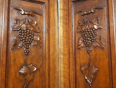 Hand Carved Wood Panel Matched Pair Antique French Grapes Vine Salvaged Carving