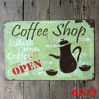 Metal Tin Sign coffee shop  Decor Bar Pub Home Vintage Retro Poster Cafe ART