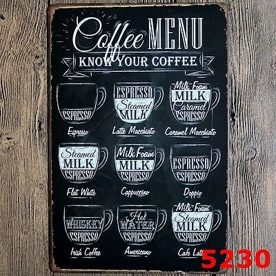 Metal Tin Sign coffee menu Decor Bar Pub Home Vintage Retro Poster Cafe ART