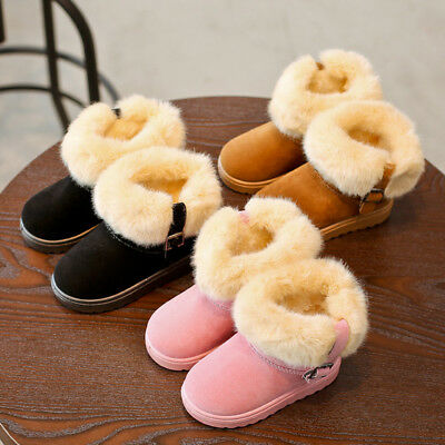 Baby Kids Girls Winter Warm Martin Casual Flat Snow Boots Soft Rubber Sole Shoes