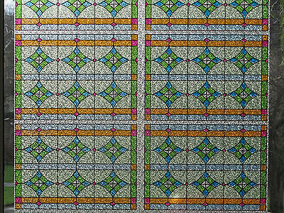 5m/10m/15m Classic Victorian Frosted Static Stained Glass Privacy Window Film