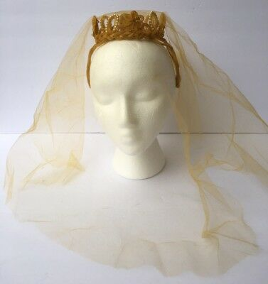 Vintage 1950s Gold Yellow Beaded Wire Frame Crown Head Piece Band Tulle Veil