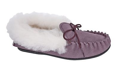 Girls Slippers Leather Suede Slip On Thermal Warm Lined Moccasin Shoes Size