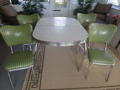 1950's Chrome & Formica Cracked Ice Table W 4 Vinyl Chairs Original PICK UP ONLY