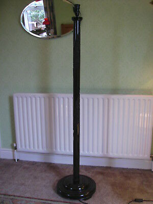 Vintage Antique Tall Heavy Turned and Carved Oriental Standard Lamp Excellent