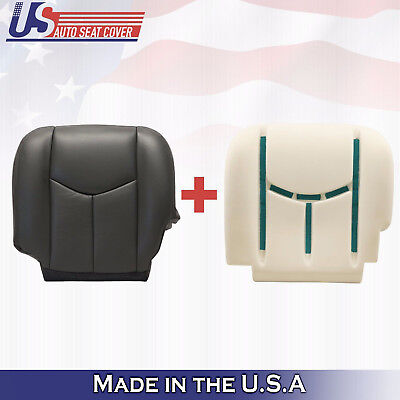 2003 2004 Chevy Avalanche 1500 DRIVER Bottom Leather Cover-Foam Cushion DK GRAY