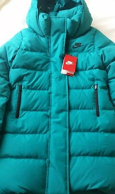 Nike Girls Padded 550 Fill Down Coat Hooded Jacket In Turquoise, Size M(10-12)