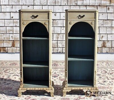 Painted Pair of White Solid Mahogany Colonial Bookcases