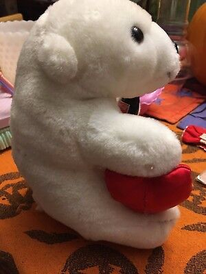 1993 Coca Cola Brand Plush Collection Polar Bear Holding Glass Coke Bottle Heart