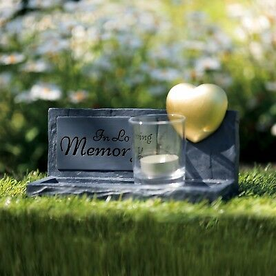 Pet Dog or Cat Stone & Heart Memorial loss of your pet for grave keep sake Grey