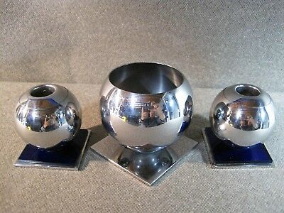Chase Art Deco Cobalt Candle Holders & Serving Dish 3 Piece Set Excellent Used C