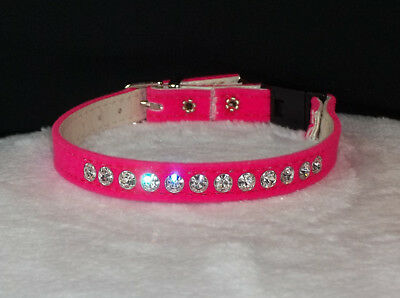 Rhinestone kitty Cat breakaway Collar Crystal Jewels hot Pink velvet Bling!