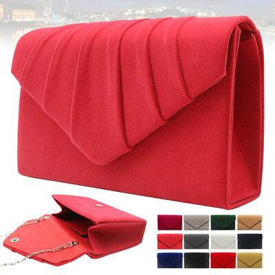 New Women Lady Evening Wedding Faux Suede Leather Clutch Shoulder Party Prom Bag