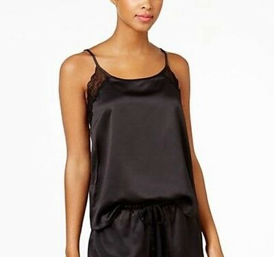 Linea Donatella Lace Trimmed Satin Short Camisole New with Tags Black Size M