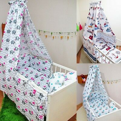 9 Pcs Baby Nursery Bedding Set CANOPY/Bumper fit Cot 120x60 or Cot Bed 140x70cm