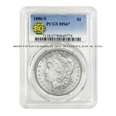 1880-S $1 Morgan PCGS MS67 PQ Approved Blast White Gem Graded Silver Dollar Coin
