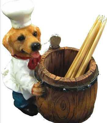 CHEF DOGS Golden Retriever Chef Toothpick Holder Pet Gift Figurine