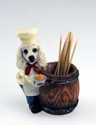 CHEF DOGS White Poodle Toothpick Holder DOG Pet Gift Figurine