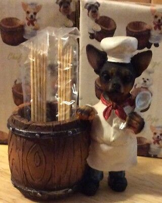 CHEF DOGS Black Chihuahua Toothpick Holder DOG Pet Gift Figurine