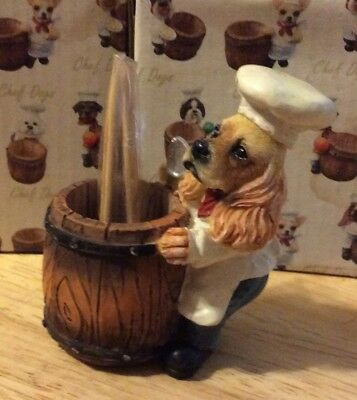 CHEF DOGS Cocker Spaniel Chef Toothpick Holder Pet Gift Figurine