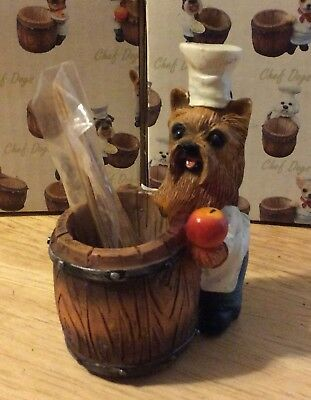CHEF DOGS Yorkshire YORKIE Terrier Chef Toothpick Holder Pet Gift Figurine