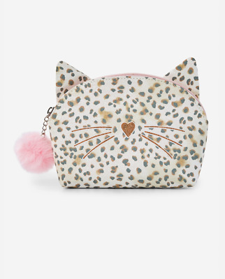 Justice glitter Cat cosmetic pouch bag