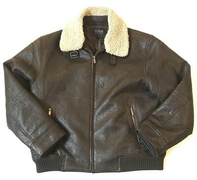 Wilsons Leather Pelle Studio Mens Large Faux Sherland Bomber Jacket Brown